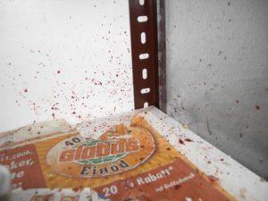 Blutspritzer im Käfig